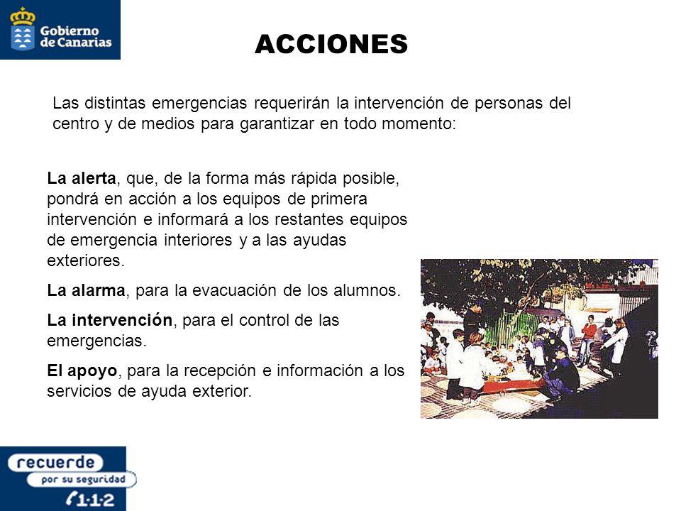 ACCIONES Las distintas emergencias requerirán la intervención de personas del centro y de medios para garantizar en todo momento:
