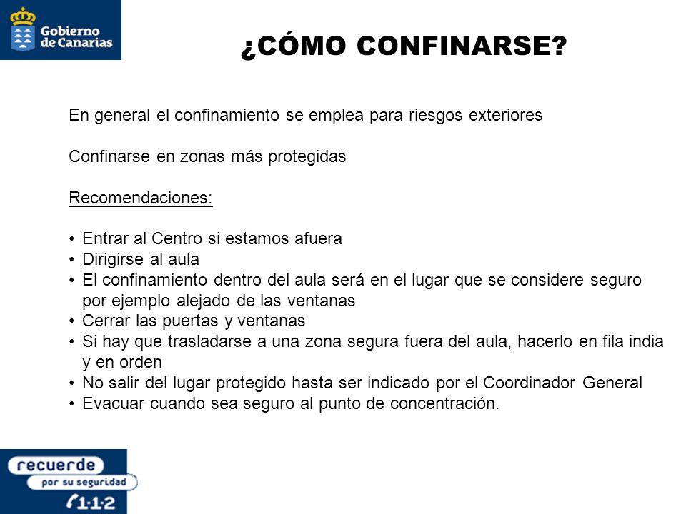 ¿CÓMO CONFINARSE En general el confinamiento se emplea para riesgos exteriores. Confinarse en zonas más protegidas.