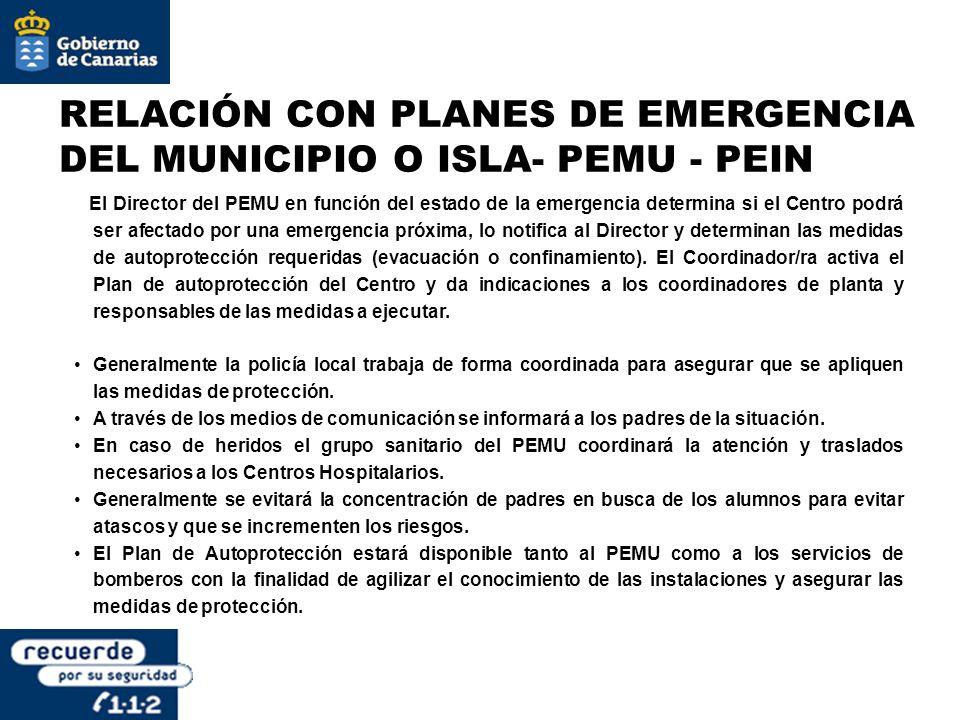 RELACIÓN CON PLANES DE EMERGENCIA DEL MUNICIPIO O ISLA- PEMU - PEIN