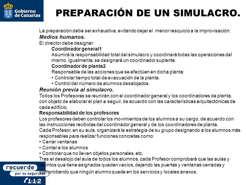 PREPARACIÓN DE UN SIMULACRO.