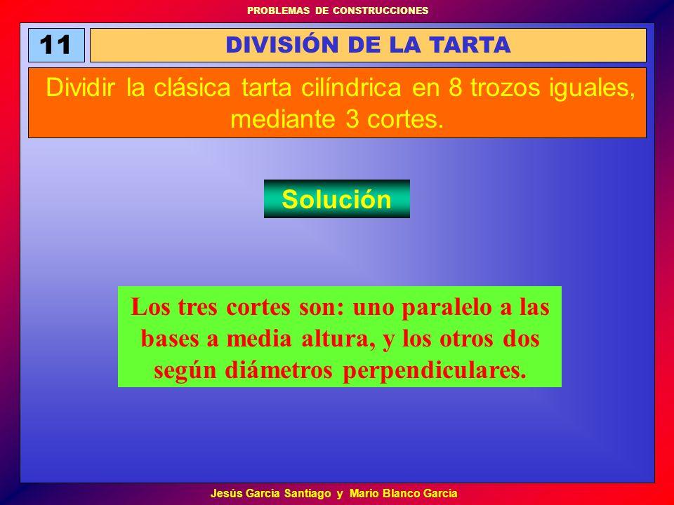 11 DIVISIÓN DE LA TARTA. Dividir la clásica tarta cilíndrica en 8 trozos iguales, mediante 3 cortes.