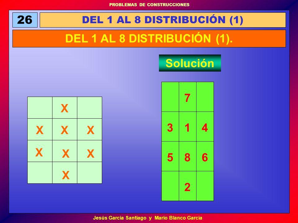 DEL 1 AL 8 DISTRIBUCIÓN (1). Solución 7 X 3 1 4 X X X X X 5 8 6 2