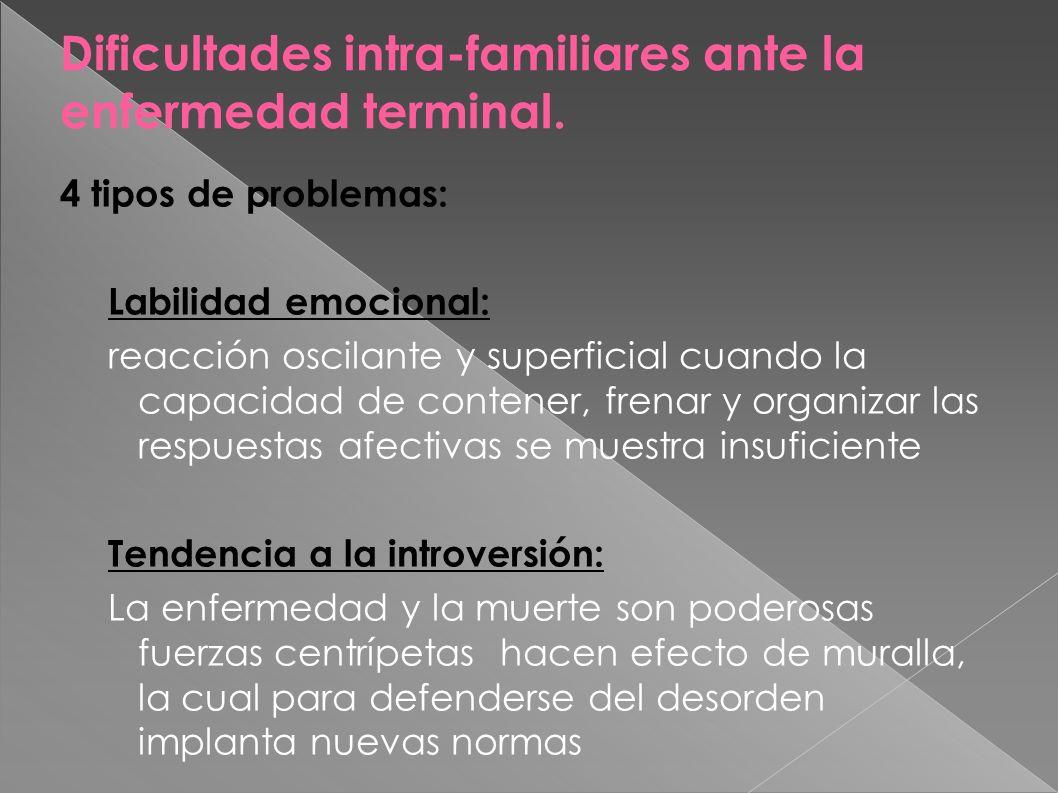 Dificultades intra-familiares ante la enfermedad terminal.