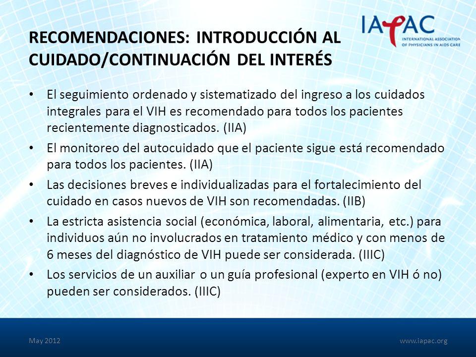 Recomendaciones: introducción al cuidado/continuación del interés