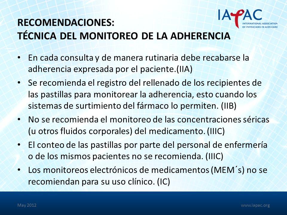 Recomendaciones: Técnica del Monitoreo de la Adherencia