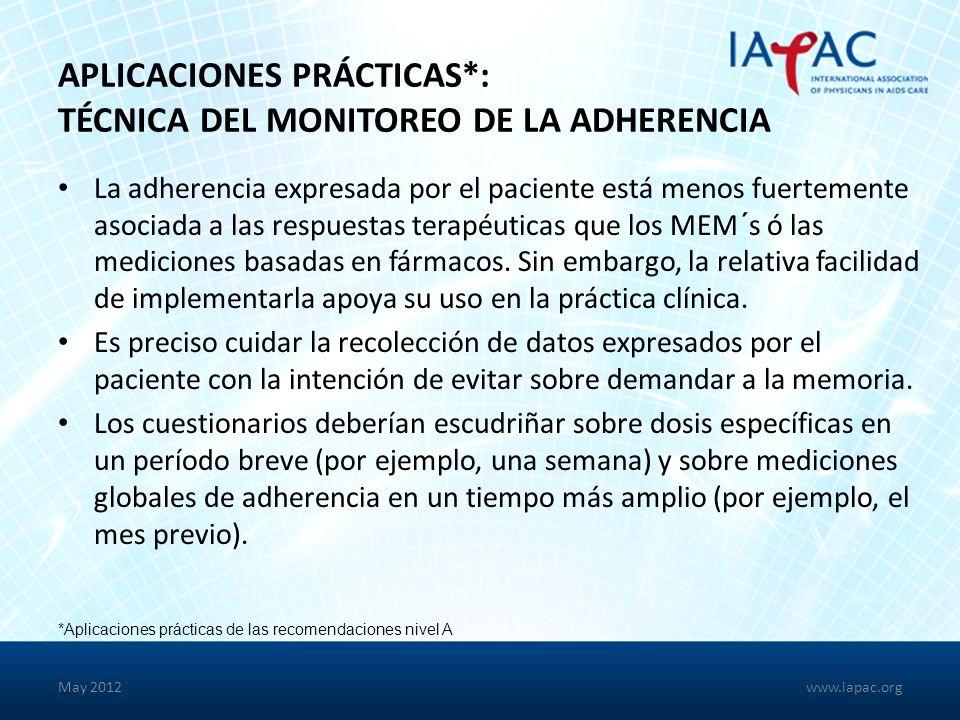 Aplicaciones Prácticas*: Técnica del Monitoreo de la Adherencia