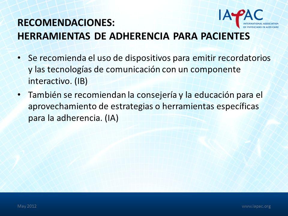 Recomendaciones: Herramientas de Adherencia para Pacientes
