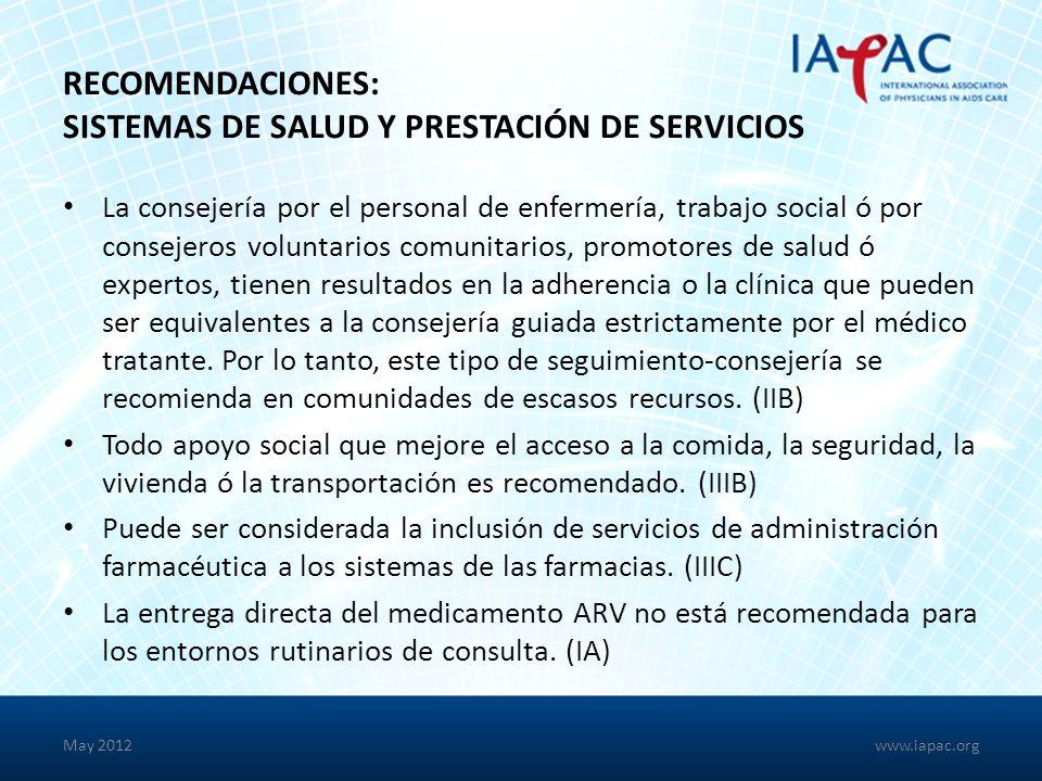 Recomendaciones: Sistemas de Salud y Prestación de Servicios