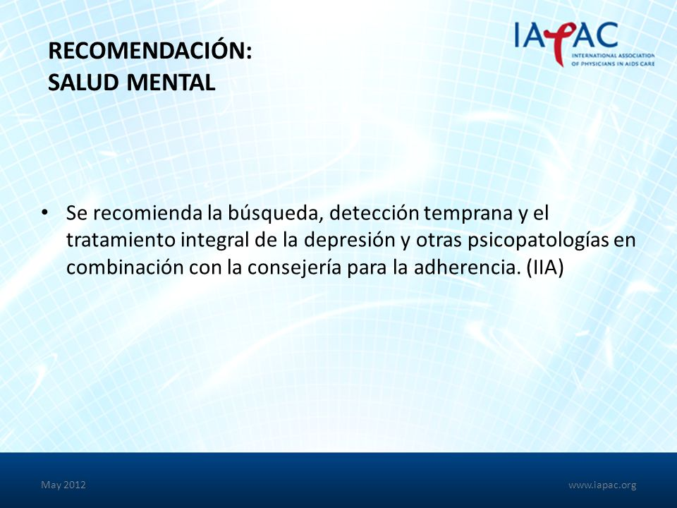 Recomendación: Salud Mental