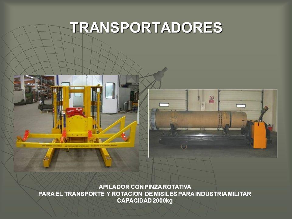 TRANSPORTADORES APILADOR CON PINZA ROTATIVA