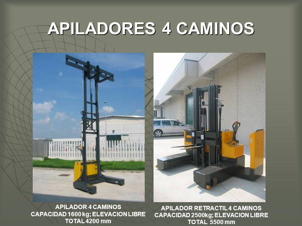 CAPACIDAD 1600 kg; ELEVACION LIBRE TOTAL 4200 mm