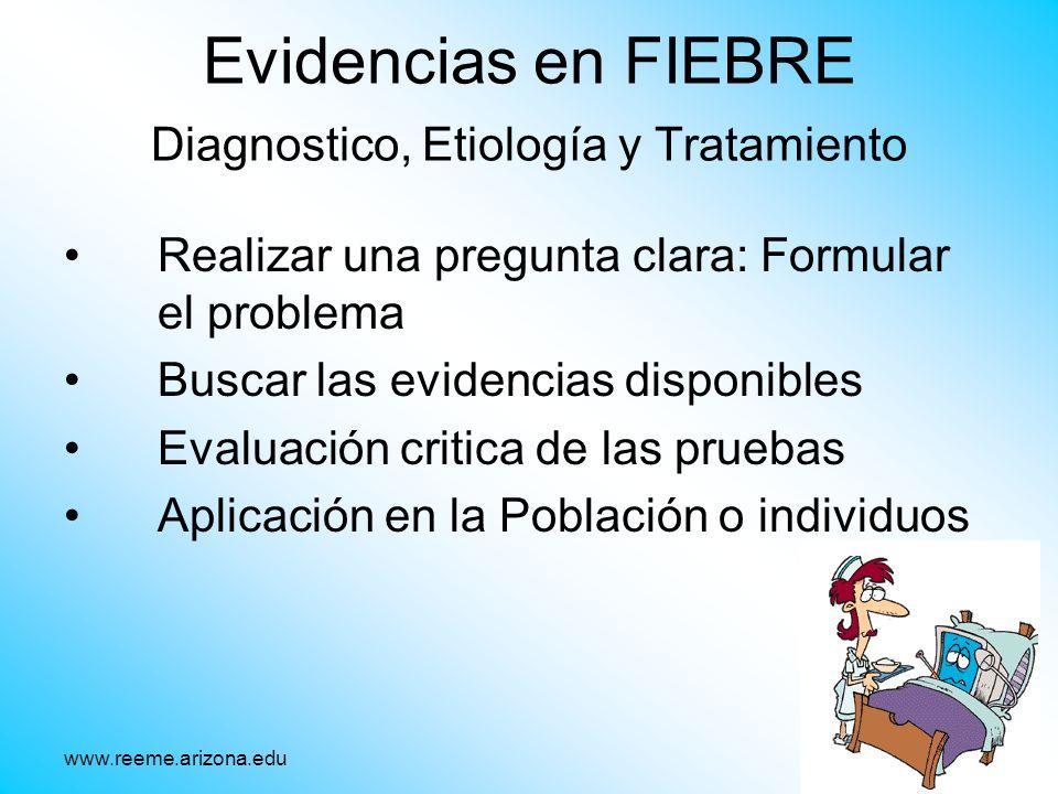 Evidencias en FIEBRE Diagnostico, Etiología y Tratamiento