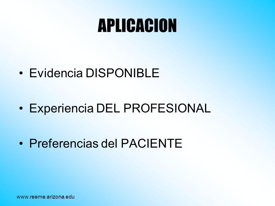 APLICACION Evidencia DISPONIBLE Experiencia DEL PROFESIONAL