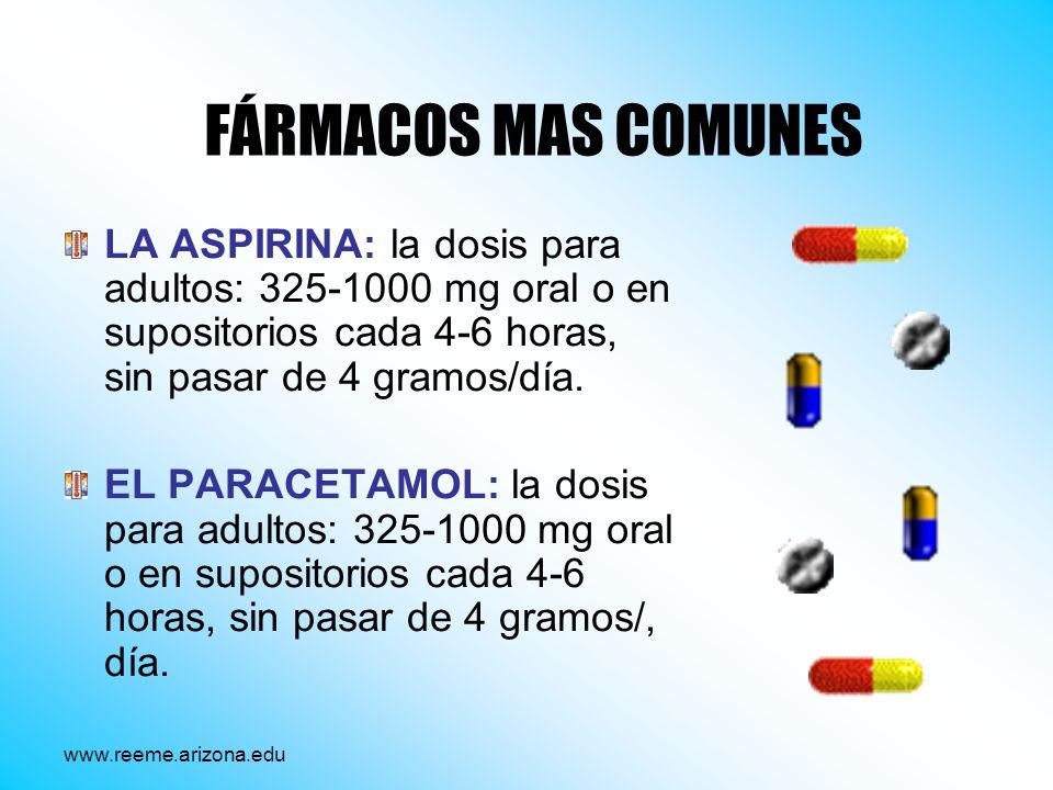 FÁRMACOS MAS COMUNES LA ASPIRINA: la dosis para adultos: 325-1000 mg oral o en supositorios cada 4-6 horas, sin pasar de 4 gramos/día.