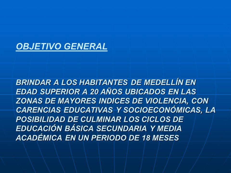 OBJETIVO GENERAL BRINDAR A LOS HABITANTES DE MEDELLÍN EN EDAD SUPERIOR A 20 AÑOS UBICADOS EN LAS ZONAS DE MAYORES INDICES DE VIOLENCIA, CON CARENCIAS EDUCATIVAS Y SOCIOECONÓMICAS, LA POSIBILIDAD DE CULMINAR LOS CICLOS DE EDUCACIÓN BÁSICA SECUNDARIA Y MEDIA ACADÉMICA EN UN PERIODO DE 18 MESES