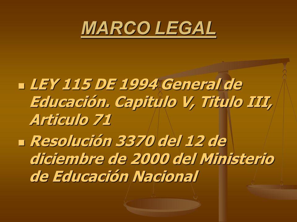 MARCO LEGAL LEY 115 DE 1994 General de Educación. Capitulo V, Titulo III, Articulo 71.
