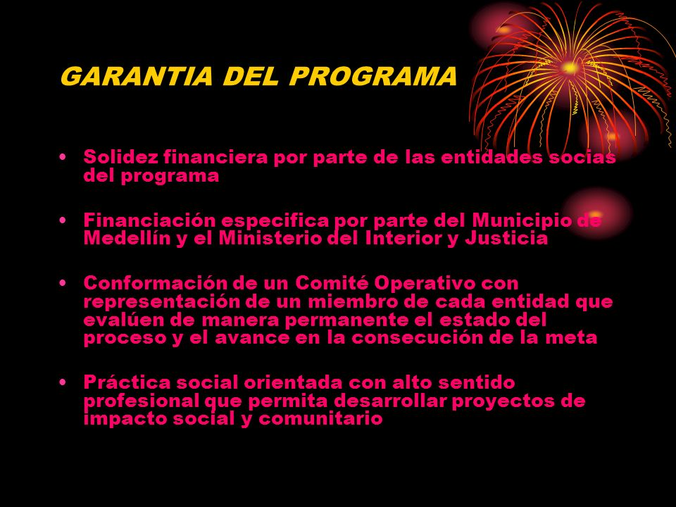 GARANTIA DEL PROGRAMA Solidez financiera por parte de las entidades socias del programa.