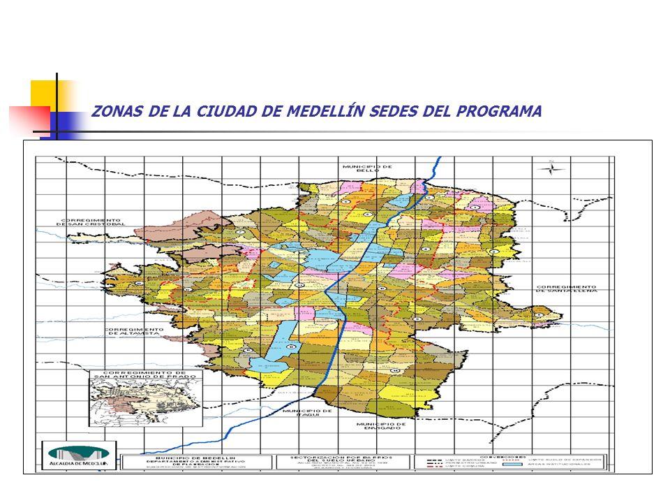 ZONAS DE LA CIUDAD DE MEDELLÍN SEDES DEL PROGRAMA