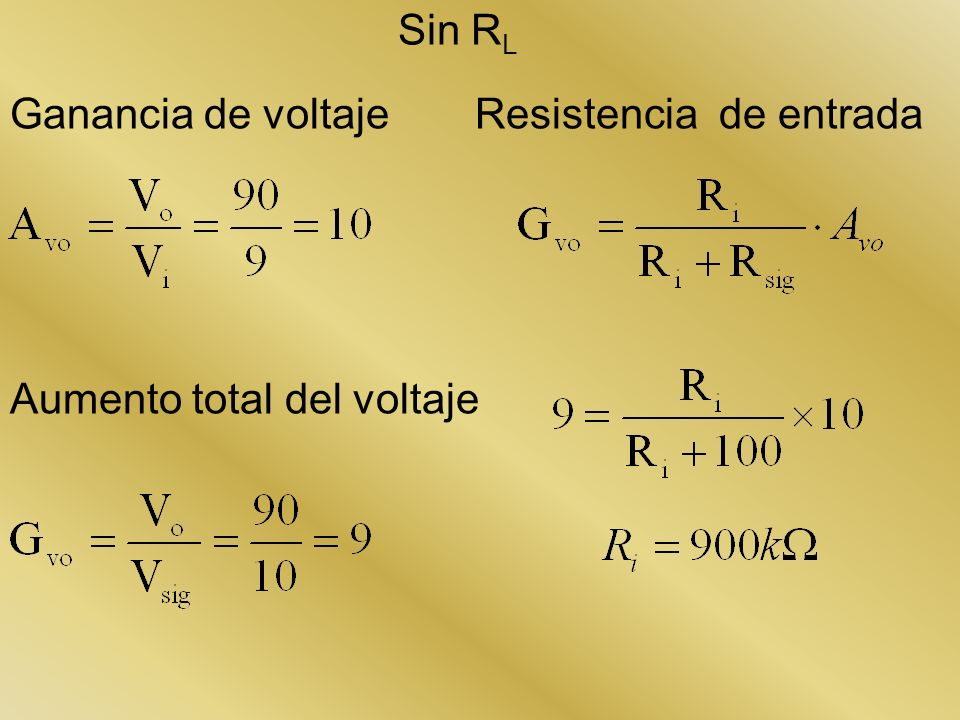 Sin RL Ganancia de voltaje Resistencia de entrada Aumento total del voltaje