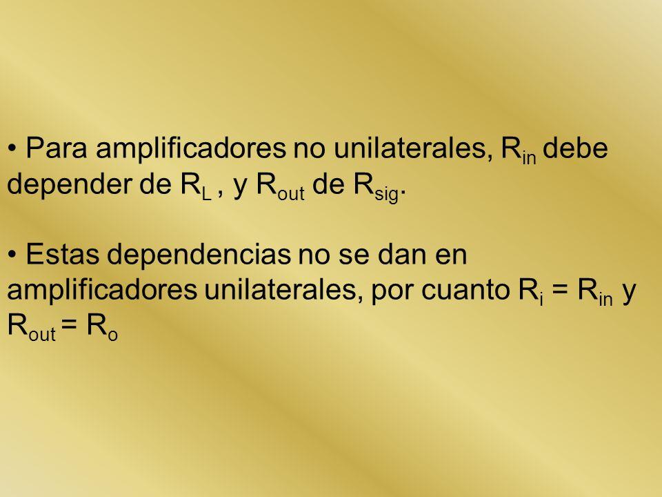 Para amplificadores no unilaterales, Rin debe depender de RL , y Rout de Rsig.