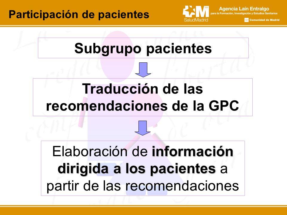 Traducción de las recomendaciones de la GPC