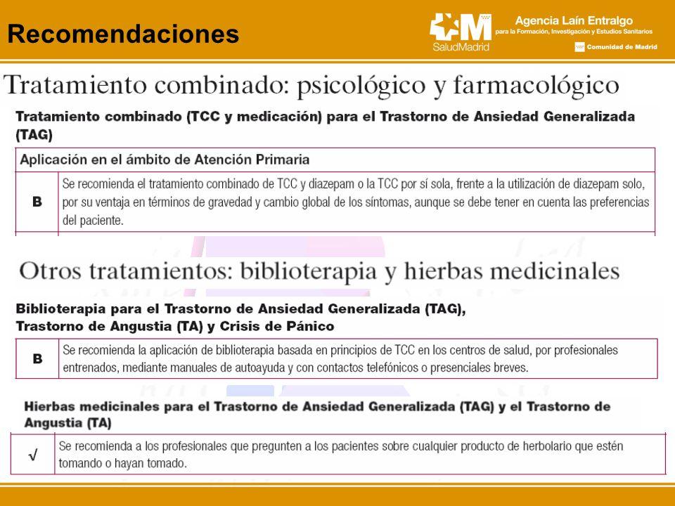 Recomendaciones Ejemplo de tratamiento combinado, son su aplicación en el ámbito de AP.