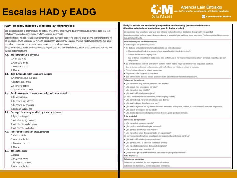 Escalas HAD y EADG En los anexos se incluyeron dos escalas, una autoadministrada (HAD) y otra heteroadministrada.