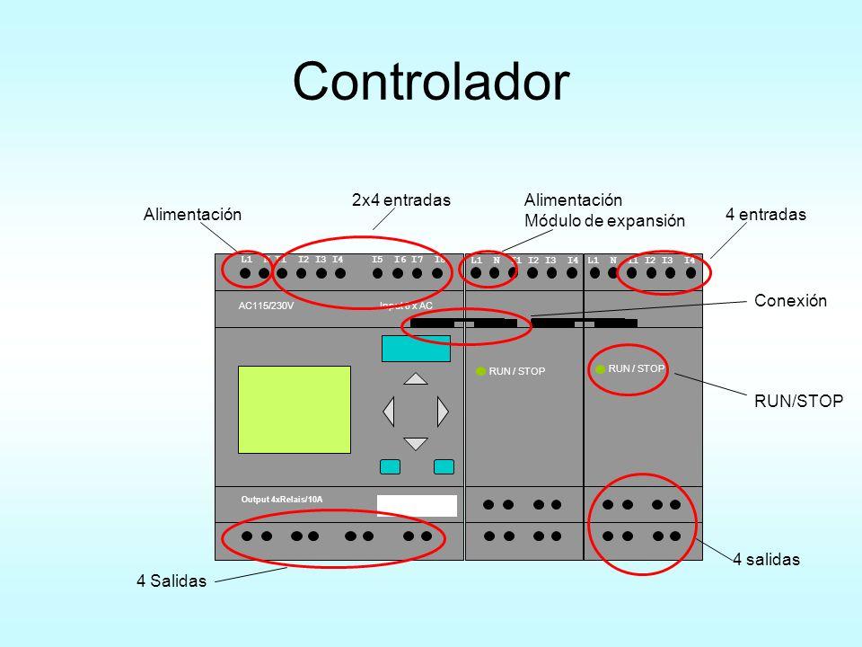 Controlador 2x4 entradas Alimentación Módulo de expansión Alimentación