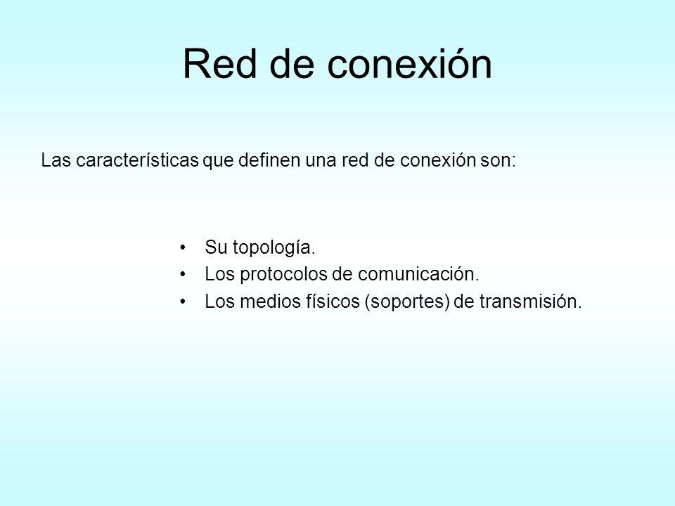 Red de conexión Las características que definen una red de conexión son: Su topología. Los protocolos de comunicación.