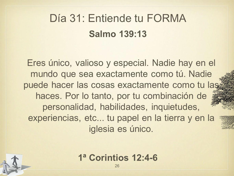 Día 31: Entiende tu FORMA Salmo 139:13