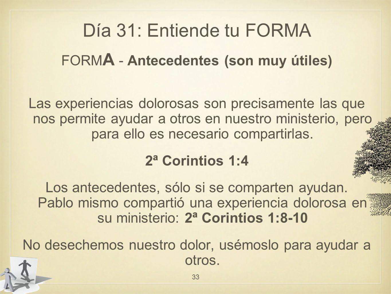 Día 31: Entiende tu FORMA FORMA - Antecedentes (son muy útiles)