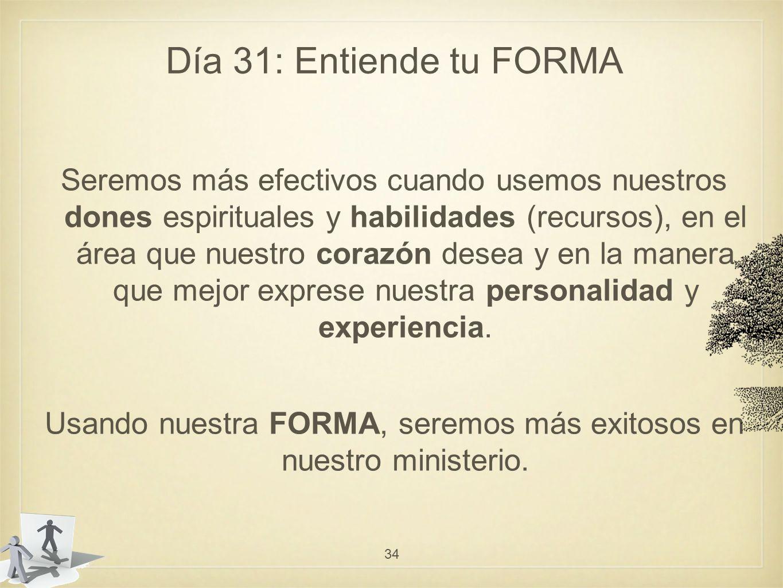 Usando nuestra FORMA, seremos más exitosos en nuestro ministerio.