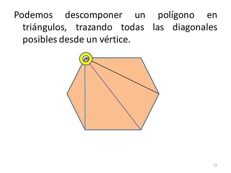 Podemos descomponer un polígono en triángulos, trazando todas las diagonales posibles desde un vértice.