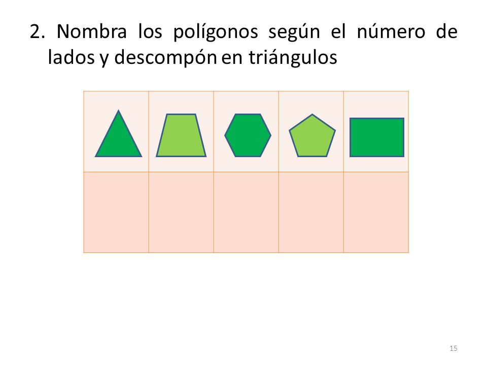 2. Nombra los polígonos según el número de lados y descompón en triángulos