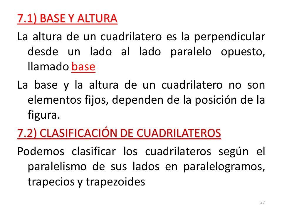 7.2) CLASIFICACIÓN DE CUADRILATEROS