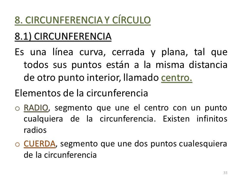 8. CIRCUNFERENCIA Y CÍRCULO