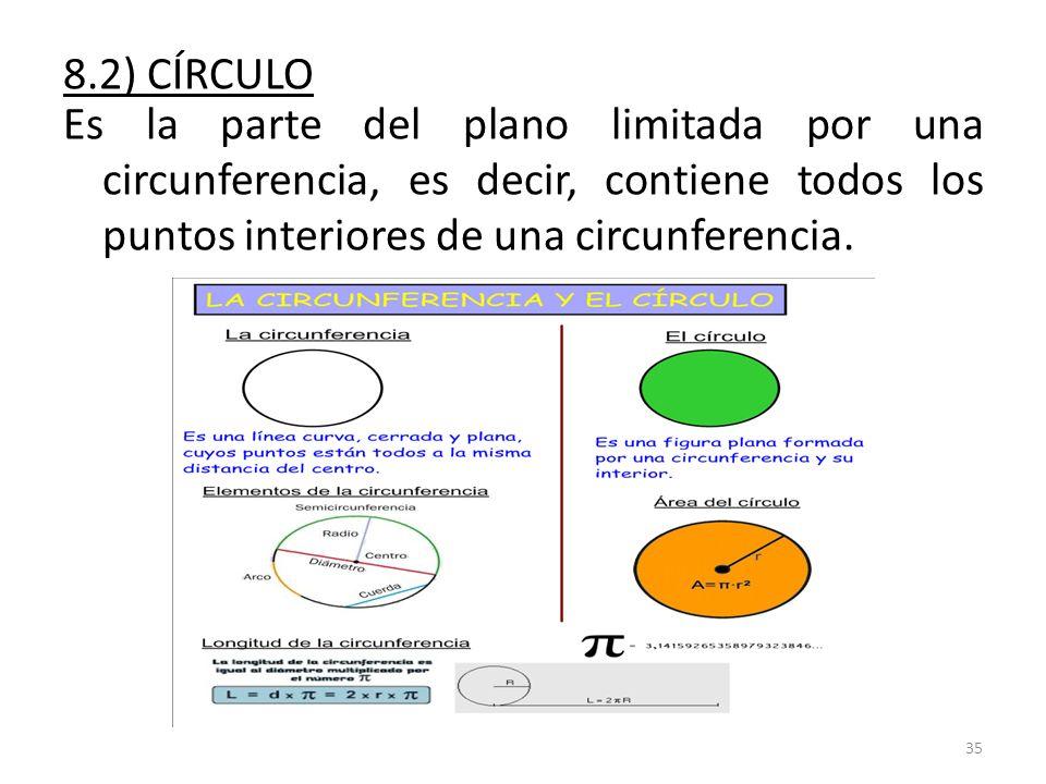 8.2) CÍRCULO Es la parte del plano limitada por una circunferencia, es decir, contiene todos los puntos interiores de una circunferencia.