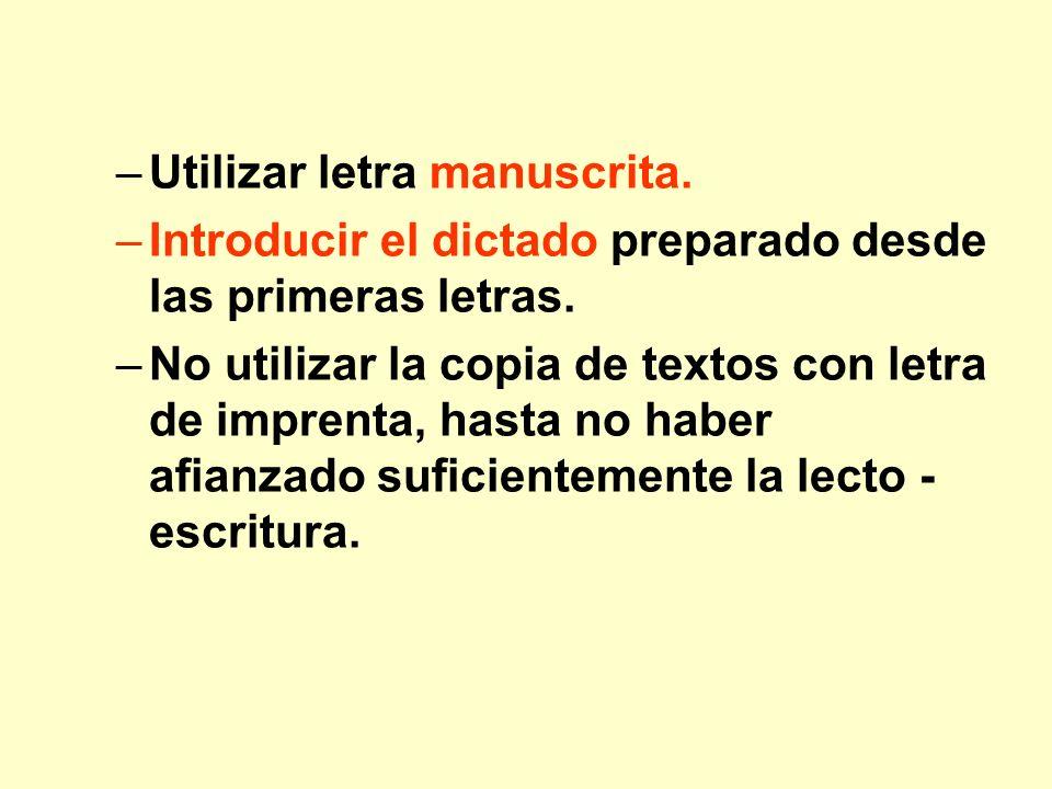 Utilizar letra manuscrita.