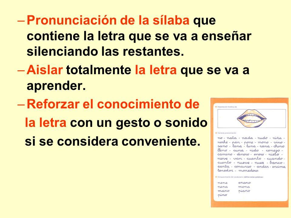 Pronunciación de la sílaba que contiene la letra que se va a enseñar silenciando las restantes.