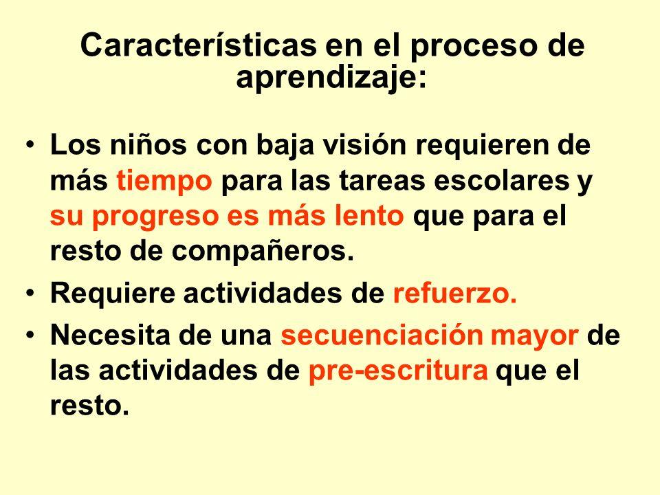 Características en el proceso de aprendizaje: