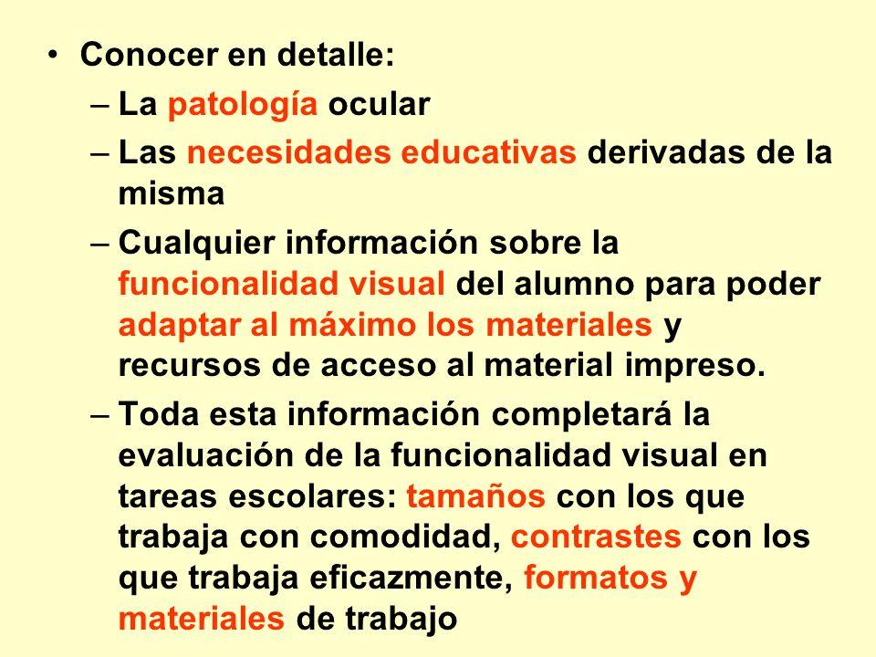 Conocer en detalle:La patología ocular. Las necesidades educativas derivadas de la misma.