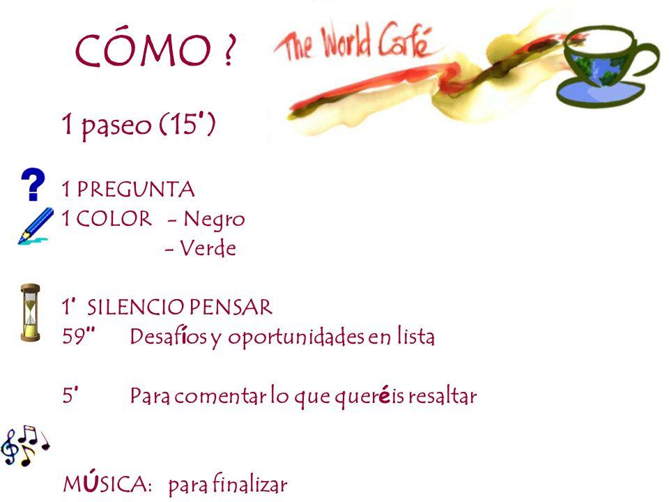 CÓMO 1 paseo (15') 1 PREGUNTA 1 COLOR - Negro - Verde