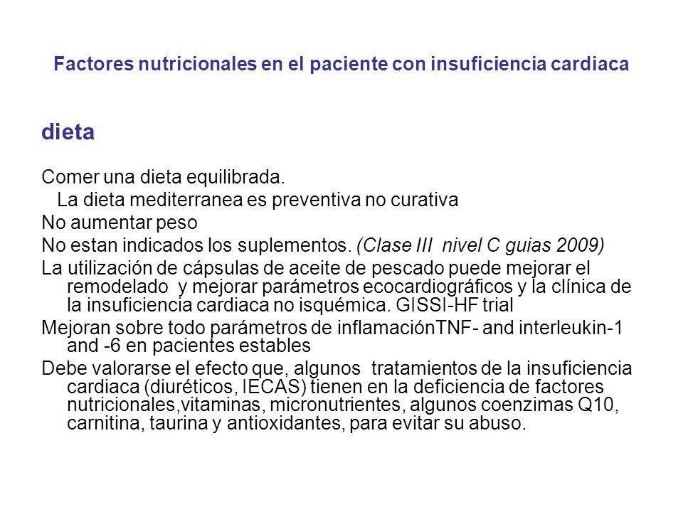 Factores nutricionales en el paciente con insuficiencia cardiaca