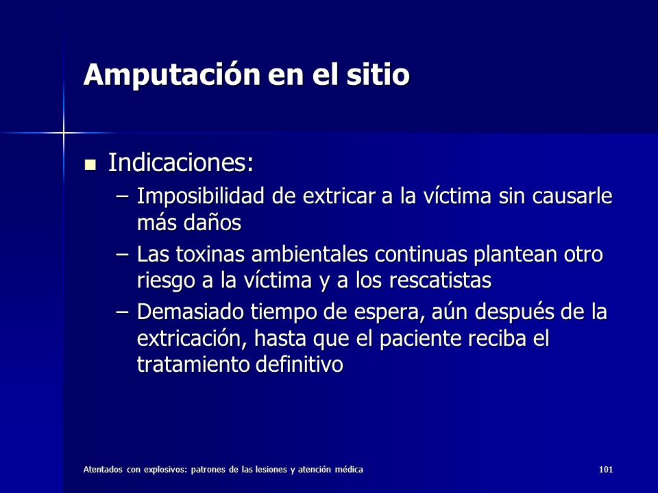 Amputación en el sitio Indicaciones: