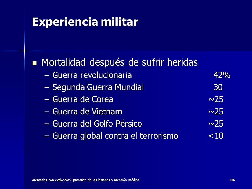 Experiencia militar Mortalidad después de sufrir heridas