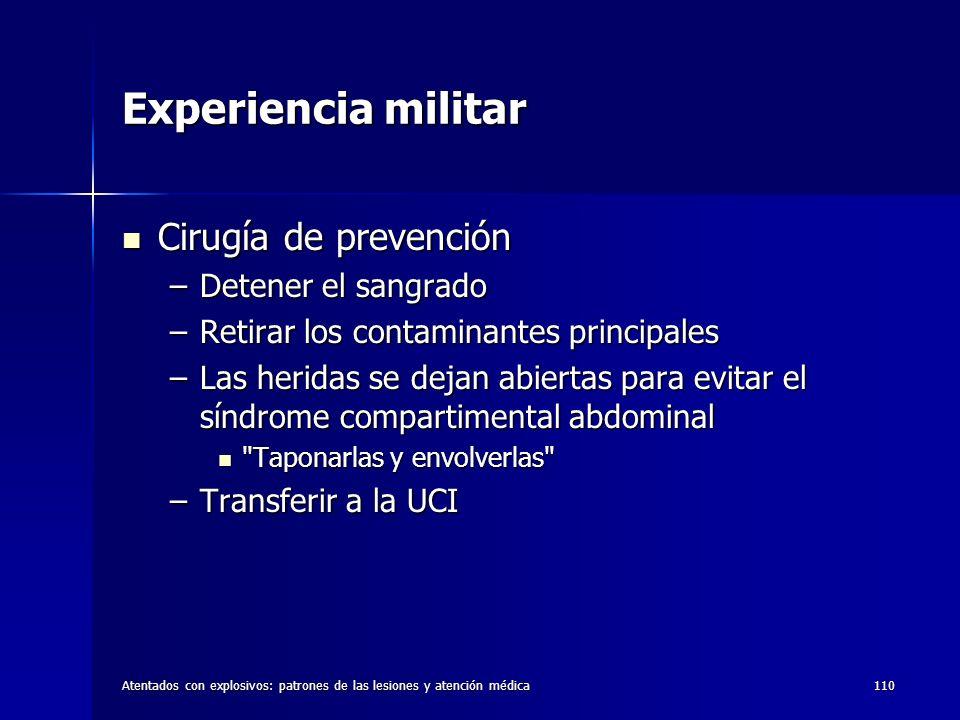 Experiencia militar Cirugía de prevención Detener el sangrado