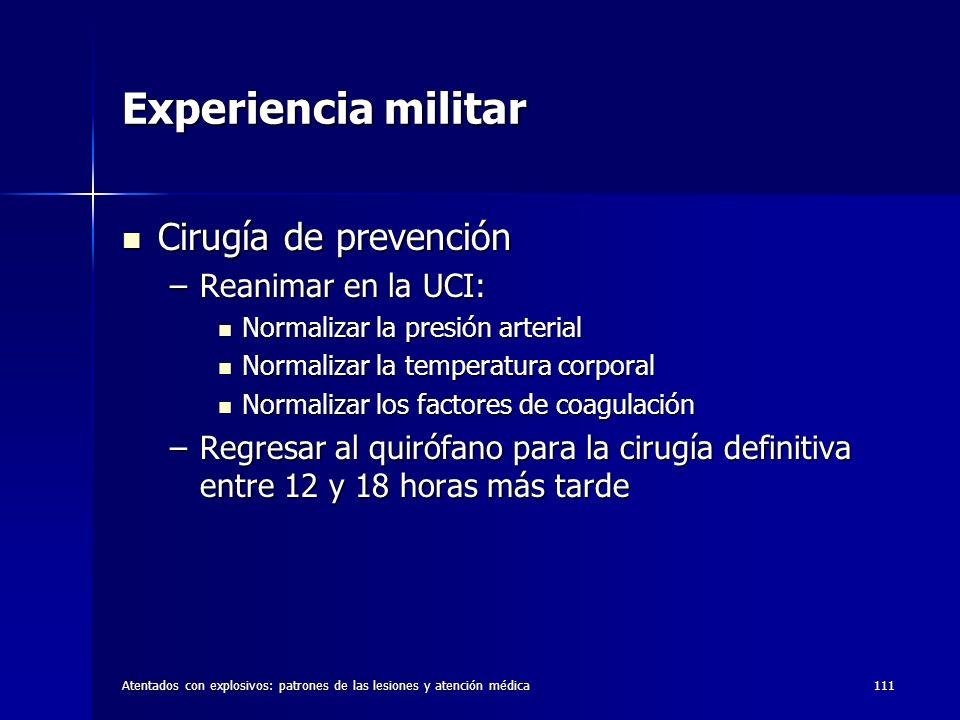Experiencia militar Cirugía de prevención Reanimar en la UCI:
