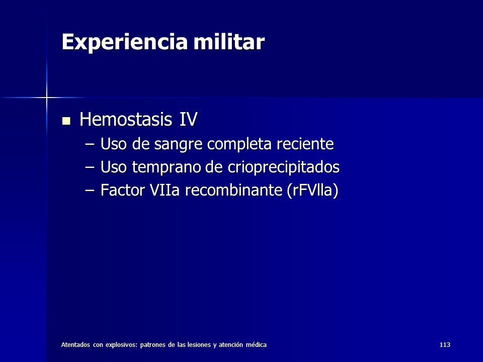 Experiencia militar Hemostasis IV Uso de sangre completa reciente