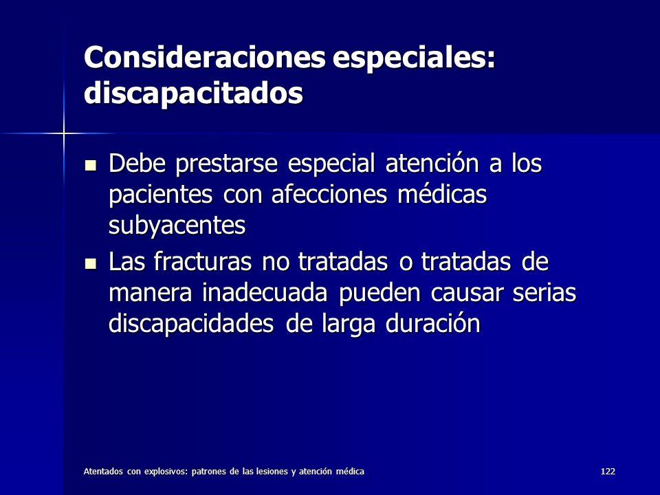 Consideraciones especiales: discapacitados