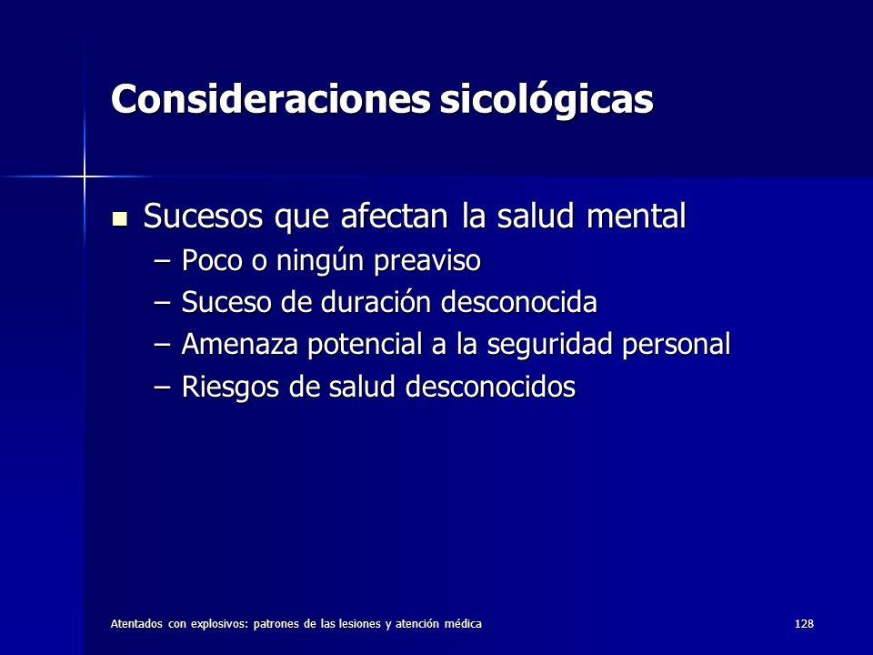 Consideraciones sicológicas
